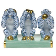Herend Three Wise Monkeys Blue Fishnet Kingdom Classic Collection