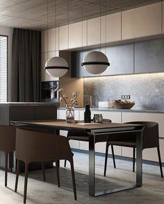 Most beautiful elegant modern dining room design ideas 16 Kitchen Room Design, Kitchen Cabinet Design, Dining Room Design, Home Decor Kitchen, Interior Design Kitchen, Dining Room Table, Kitchen Furniture, Home Kitchens, Furniture Design