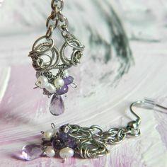 Vějířky s ametysty a perlami