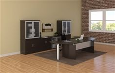 Modern home office space equipped with Mayline Medina series mocha finished executive furniture.