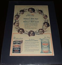 Large 1908 Full Page Color Ad for Pillsbury's Flour and Cereal, Matted Ready to Frame a Great Image  A fine vintage advertisement . This Classic Pillsbury advertisement is 19 by 14 inches matted. See Photos   This vintage piece of cover art was matted by me personally and is now ready for framing. This would make a unique and special Gift. I do not sell reproductions and I have been matted and framing my own prints for years. A great piece of vintage magazine art.