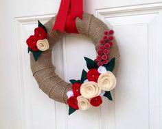Christmas Burlap Wreath Holiday Wreath by TheVioletteBloom on Etsy