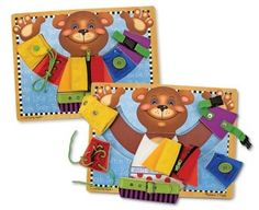 A friendly bear helps your little one master zipping, buckling, buttoning and more. #ad Melissa & Doug 'Basic Skills' Learning Toy