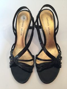 "Antonio Melani Kicky Black Leather Strappy Sandals Sexy 3"" Heels size 9 #AntonioMelani #Strappy #SpecialOccasion"