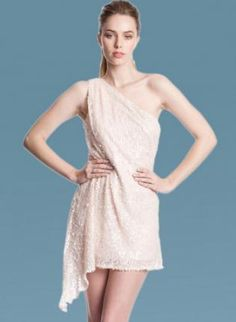 Blush One Shoulder Sequin Dress with Asymmetric Hemline,  Dress, one shoulder dress  sequin dress, Chic