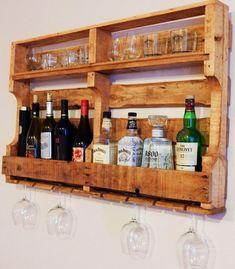 Bar Pallet, Pallet Wine Rack Diy, Diy Pallet Sofa, Wood Wine Racks, Wooden Pallet Projects, Wood Pallet Furniture, Diy Furniture, Pallet Ideas To Sell, Pallet Headboards