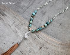 Boho tassel necklace - Southwestern necklace, Bohemian crystal necklace with turquoise jasper stones - cowgirl, boho jewelry by Ness Solo