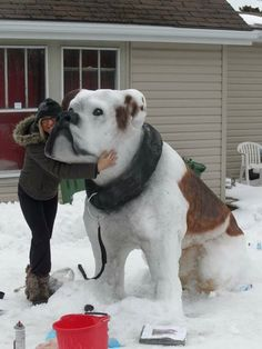 Awesome snow sculpture! Dogs are family