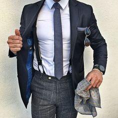 mydapperself: Pocket square, tie, suspenders, sunglasses,...