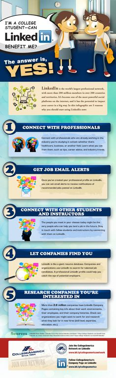 Learn how LinkedIn can benefit you as a college student from this CollegeAmerica infographic