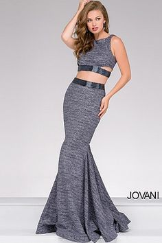 Gunmetal Fitted Jersey Two-Piece Prom Dress 47025