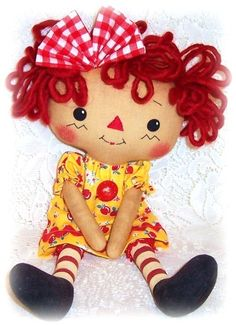 Small Doll Pattern, Cloth Doll Pattern, Rag Doll Pattern,  PDF Pattern, Sewing Pattern, Raggedy Ann Annie, Primitive doll pattern