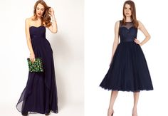 Navy blue bridesmaids dresses.