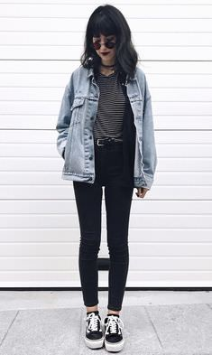 women jackets jeans white - Women's Jackets – How to Find the Best Jacket for You. Click VISIT link for Mode Grunge, Style Grunge, Grunge Look, Edgy Style, Preppy Grunge, 90s Grunge, Outfits Casual, Grunge Outfits, Cool Outfits