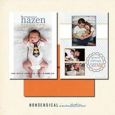 Birth Announcement. Baby boy. Baby girl. 5x7 double sided. Photo collage. White, blue, orange, lattice. Custom Design. Nonsensical Invitations. Hazen design.