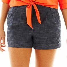 by Belted Textured Shorts - jcpenney