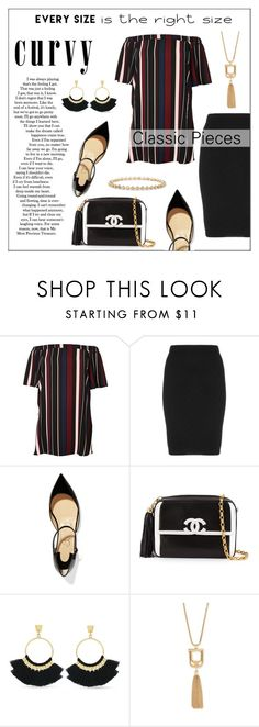 """Signature Power Look"" by pat912 ❤ liked on Polyvore featuring River Island, Manon Baptiste, Christian Louboutin, Chanel, Vince Camuto, Forever 21, polyvoreeditorial, powerlook and plus size dresses"