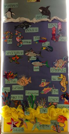A great way to include science and literacy. Have students either draw out their own sea creature or pick on already up on the board. Then have students either sound out the name of their creature or look it up. Create an underwater display that allows the students to see the diversity that lives under the sea! This could be supplemented with an underwater unit or books.