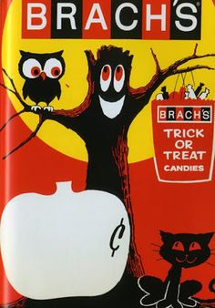 1966 Brach's Candy Halloween Store Display From Krazy Kids' Food!: Vintage Food Graphics, Steve Roden and Dan Goodsell, Taschen, Retro Halloween, Vintage Halloween Images, Vintage Halloween Decorations, Halloween Items, Halloween Trick Or Treat, Halloween Signs, Halloween Pictures, Vintage Holiday, Holidays Halloween