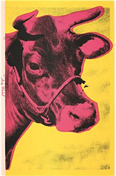 Andy Warhol Cow Yellow on Blue Background painting is shipped worldwide,including stretched canvas and framed art.This Andy Warhol Cow Yellow on Blue Background painting is available at custom size. Andy Warhol Museum, Art Andy Warhol, Roy Lichtenstein, Arte Pop, Jackson Pollock, Illustrations, Illustration Art, Silkscreen, Art Rose