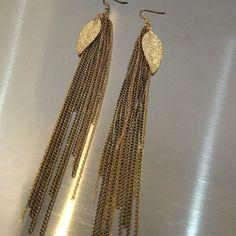 Gold Leaf Fringe Earring   Kane Women's Jewelry via: Michelle Tan - Price: $79.00