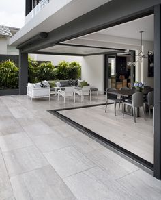 Bellevue Hill House_Outdoor Travertine Grigio Chiaro Brushed Honed and Unfilled 2 low res In Reference, House On A Hill, Travertine, Outdoor Entertaining, Tiles, It Is Finished, Entertainment Area, Exterior, Patio
