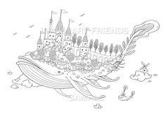 Whale castle • Coloring Page • A4 size 210 × 297mm