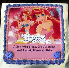 Your daughter will love this amazing Little Mermaid birthday cake.  It features a vibrant edible cake topper.  The topper pictures Ariel in a gorgeous gown, jewels and more.   Simply apply to your frosted cake and embellish with decorative icing and accents.