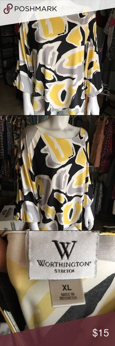 Worthington colorful long sleeve blouse Black, gray, white, and yellow patterned top. Stretchy and comfortable. Bold print shirt is great for work. Worthington Tops Blouses
