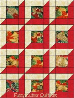 Christmas Bells Tree Pine Holly Bows Ornaments Fabric Easy Pre-Cut Quilt Blocks Top Kit