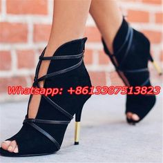 (69.59$)  Buy here - http://aih73.worlditems.win/all/product.php?id=32797522294 - Black Suede Leather Sexy V Cut-Outs Ankle Lace Up Women Short Boots Peep Toe Stiletto High Heels Strappy Gladiator Women Pumps