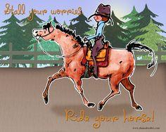 Ride Your Horse 8 x 10 print.  Watercolor Print by DanasDoodles