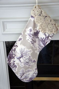 toile pillows | Christmas Stocking ~ Purple and White Toile, Crochet Doily Cuff