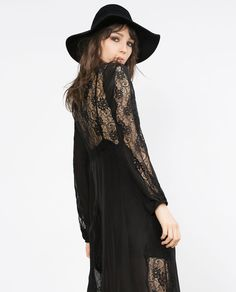Image 3 of LONG SILK STUDIO DRESS WITH LACE from Zara