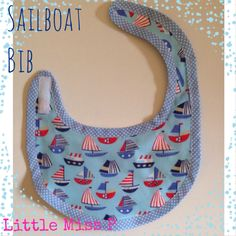 Handmade Sailboat baby bib, from littlemissp.co.uk