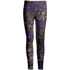 Azalea Taupe & Purple Lace-Print Leggings