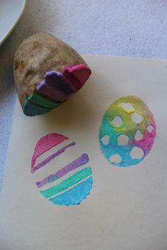 Handmade Easter Egg Stamps for Kids