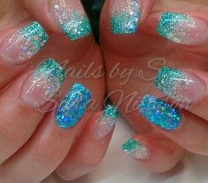why not to go for a nail art that portrays sea and a sea creature like mermaid who is almost everyones favorite mystical creature Mermaid nails refer to any nail enhancem. Get Nails, Hair And Nails, Acrylic Nail Designs, Nail Art Designs, Nails Design, Glitter Nail Designs, Mermaid Nails, Mermaid Glitter, Pretty Nail Designs
