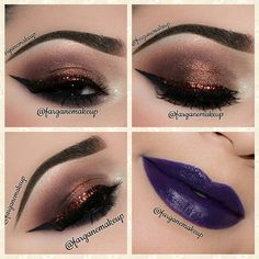 #smokey burned gold into taupe with #bronze #glitter winged #eyeliner + purple lips | #makeup @farganemakeup