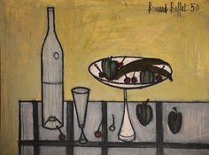artnet Galleries: Cerises, Bananes et prunes dans une coupe, bouteille et verre by Bernard Buffet from Galerie des Modernes
