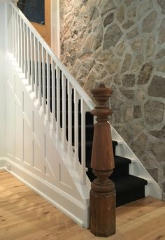 Custom Stair With Wood Treads Painted Risers And Spindles With Dark Stained Handrails And