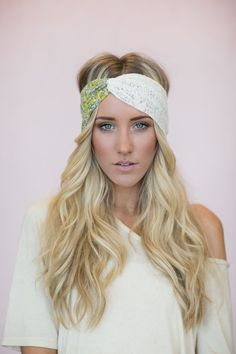 Turban Headband, Lace, Vintage Floral Fabric, Twist Cute Hair Bands, Handmade Headbands Yellow Floral, Ivory Crochet Lace (HB-132)