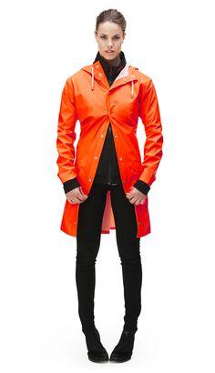 Long Jacket - Orange   RAINS   Rainwear   Modern Danish Design