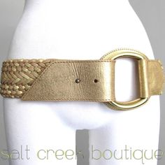 linea pelle, high end, designer, anthropologie belt in metallic gold, champagne, full grain genuine leather, interwoven, braided, solid brass d-ring buckle, extra wide, boho style, hip slung, glam, new years, dressy, bohemian, hippie, gypsy, biker style. available now at salt creek boutique on eBay!