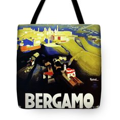 Tote Bag featuring the drawing 1920s Bergamo Italy Travel by Aapshop