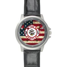 Birthday / Christmas Gifts Classic Cool Firefighter Emblem and American Flag Black Leather Alloy High-grade Watch >>> Quickly view this special  product, click the image : Travel Gadgets