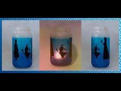 Tutorial para reciclar un frasco de vidrio transformándolo en un lindo farol. Técnica: decoupage. Tip: fórmula para el mod podge casero. #DIY Decorative Bottles, Wine Glass, Lanterns, Decoupage, Recycling, Diy, Fantasy, Tableware, Frozen Theme
