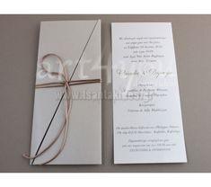 989ea831bcad Προσκλητήριο Γάμου μακρόστενο σε φάκελο περλέ διαγώνιο