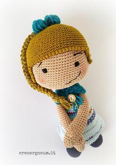 Blonde Crochet Doll 12 Amigurumi doll OOAK by CreoErgoSumHandmade