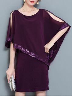 Fashionmia - Fashionmia Open Shoulder Sequin Plain Chiffon Cape Sleeve Shift Dress - AdoreWe.com